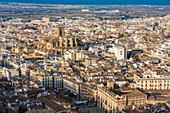 View of Granada historic quarters Albayzin, Sacromonte, Granada, Andalucia, Spain, Europe