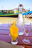 Drink in a restaurant in Le Somail on the Canal du Midi, Occitania, France