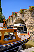 Boats in Le Somail on the Canal du Midi, Occitania, France