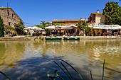 Restaurant in Le Somail on the Canal du Midi, Occitania, France