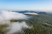France, Puy de Dome, area listed as World Heritage by UNESCO, Orcines, North of Chaine des Puys, Regional Natural Park of the Auvergne Volcanoes (aerial view)