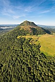 France, Puy de Dome, area listed as World Heritage by UNESCO, Orcines, Chaine des Puys, Regional Natural Park of the Auvergne Volcanoes, the Puy de Dome (aerial view)