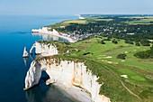 France, Seine Maritime, Etretat, Cote d'Abatre, the Porte d'Aval cliff (aerial view)
