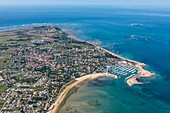 France, Charente Maritime, Oleron island, Saint Denis d'Oleron, the town and the marina (aerial view)