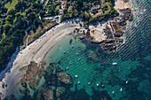 France, Vendee, Yeu island, Pointe Gauthier and les Sapins beach (aerial view)