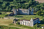 France, Vendee, Maillezais, the abbey (aerial view)