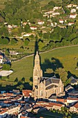 France, Vendee, Saint Laurent sur Sevre, Saint Louis Marie Grignion de Monfort basilica (aerial view)