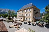 France, Hautes Alpes, Saint Firmin en Champsaur, 3 star hotel, restaurant Chateau des Herbeys of Christiane et Gilbert Delas on the main road 85 or route Napoleon