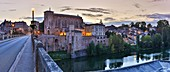 France, Tarn, Gaillac, Saint Michel abbey, panoramic view of the Abbey of Saint Michael and the old bridge on the banks of the Tarn