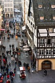 France, Bas Rhin, Strasbourg, old town listed as World Heritage by UNESCO, Rue Merciere seen from the top of the Notre Dame Cathedral