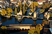 France, Bas Rhin, Strasbourg, old town listed as World Heritage by UNESCO, the Covered Bridges over the River Ill (aerial view)