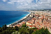 France, Alpes Maritimes, Nice, the Baie des Anges, the Old Town and the Promenade des Anglais on the seafront
