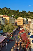 France, Alpes Maritimes, Nice, old town, cours Saleya market, the Cais de Pierlas palace in the background