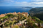 France, Alpes Maritimes, the hilltop village of Eze and its Exotic Garden, Saint Jean Cap Ferrat in the background