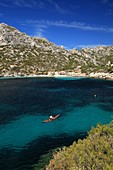 France, Bouches du Rhone, Marseille, Creeks National Park, sea kayak in the Sormiou Creek