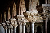 France, Tarn et Garonne, Moissac, a stop on el Camino de Santiago, Saint Pierre benedictine abbey of the 11th 17th century listed as World Heritage by UNESCO, pillars of the cloister