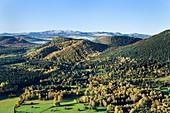 France, Puy de Dome, area listed as World Heritage by UNESCO, Beaune, Chaine des Puys, Parc Naturel Regional des Volcans d'Auvergne (Natural regional park of Volcans d'Auvergne) (aerial view)
