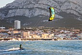 France, Bouches du Rhone, Marseille, Bonneveine Beach, Kiteboarding