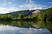 View over the Danube to the Walhalla at Donaustauf, Danube, Bavaria, Germany