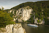 Excursion boat on the Danube, Danube breakthrough at Weltenburg Abbey, Danube, Bavaria, Germany