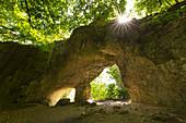 Hohler Fels, cave near Happurg, Franconian Jura, Frankenalb, Franconia, Bavaria, Germany