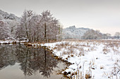 Ruhr meadows in winter, view to Blankenstein Castle, near Hattingen, Ruhr area, North Rhine-Westphalia, Germany