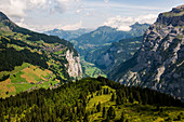 View of Murren and the Lauterbrunnen Valley, Murren, Lauterbrunnen, Bernese Oberland, Canton of Bern, Switzerland