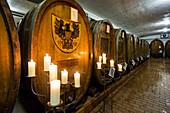 Old wine barrels, Badischer Winzerkeller, Breisach am Rhein, Breisgau, Black Forest, Baden-Württemberg, Germany