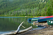 Canoes were deposited on the banks of the Yukon River. Yukon Territory; Canada;