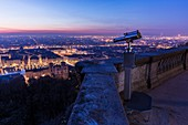 France, Savoie, Rhone, Lyon, historical site listed as World Heritage by UNESCO, view of the Vieux Lyon (Old Town) and Saint Jean Cathedral (Saint John's Cathedral), the place Bellecour in the district of La Presqu'Ile in the background and the Alps since the esplanade of the Fourviere