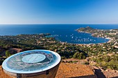 France, Var, Corniche de l'Esterel, Saint Raphael, Agay bay from Rastel Orientation Table