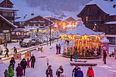 France, Haute-Savoie, Morzine, the valley of Aulps, ski slopes of the Portes du Soleil, merry-go-round place of Baraty