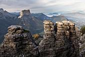 France, Isere, Parc Naturel Regional du Vercors (Natural regional park of Vercors), nature reserve highlands of Vercors, in background the Mont Aiguille (2086m)