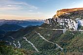 France, Drome, Parc Naturel Regional du Vercors (Natural regional park of Vercors), D518 road Rousset Pass, Chironne rocks (1493m)