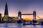 The Shard with Tower Bridge and River Thames at sunset, London, England, United Kingdom, Europe