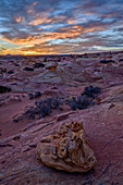 Sunrise over sandstone formations, Coyote Buttes Wilderness, Vermilion Cliffs National Monument, Arizona, United States of America, North America