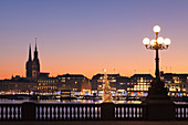 View over Binnenalster Lake (Inner Alster) to the Christmas market at Jungfernstieg and City Hall, Hamburg, Hanseatic City, Germany, Europe