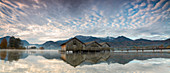 Panorama of Kochelsee framed by pink clouds at sunset, Schlehdorf, Bavaria, Germany, Europe