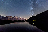 Camping under the stars at Lac des Cheserys, Mont Blanc in centre, Europe's highest peak, Chamonix, Haute Savoie, French Alps, France, Europe
