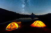 Camping under the stars with Matterhorn reflected in Lake Stellisee, Zermatt, Canton of Valais, Pennine Alps, Swiss Alps, Switzerland, Europe