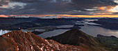 Morning panoramic view of mountain ranges including Mount Aspiring from the Roys Peak, Wanaka, Otago, South Island, New Zealand, Pacific