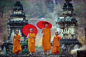 Novice Buddhist monks, Doi Kong Mu Temple, Mae Hong Son, northern Thailand, Southeast Asia, Asia