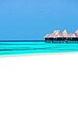 Tropical beach and over-water villas, Coco Palm, Dhuni Kolhu, Baa Atoll, Republic of Maldives, Indian Ocean, Asia