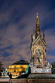 Albert Memorial and Albert Hall at dusk, Kensington, London, England, United Kingdom, Europe