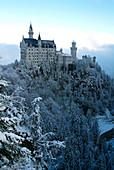 Neuschwanstein Castle in winter, Schwangau, Allgau, Bavaria, Germany, Europe