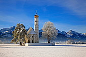 Church of St. Coloman and Tannheimer Alps near Schwangau, Allgau, Bavaria, Germany, Europe