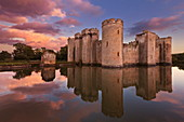 Bodiam Castle and moat, a 14th century castle at sunset, Robertsbridge, East Sussex, England, United Kingdom, Europe