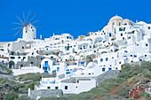 Stuccoed houses and windmill, Oia, Santorini, Cyclades Islands, Greek Islands, Greece, Europe