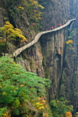 Footpath along rock face, Xihai (West Sea) Valley, Mount Huangshan (Yellow Mountain), Anhui Province, China, Asia