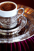 Turkish coffee served in ornate silver cup and dish, Turkey, Eurasia